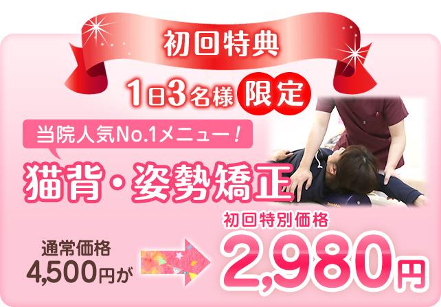 初回特典1日3名様限定、猫背・姿勢矯正初回特別価格2,980円